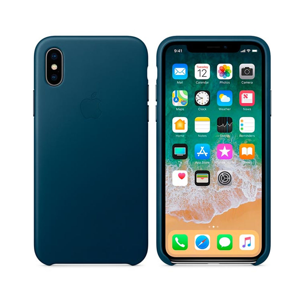 Чехол IPhone X Leather Case MQTH2ZM/A Cosmos Blue