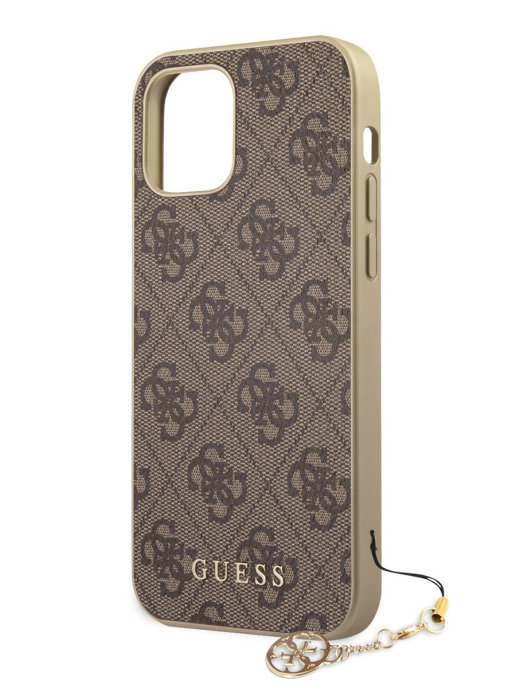 Чехол Guess 4G Charms collection для iPhone 12/12 Pro (коричневый)